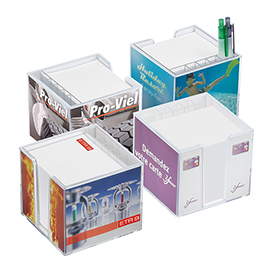 Memo block holder, souble-walled with organizer